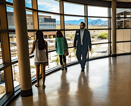 Students walking around in new NSC building