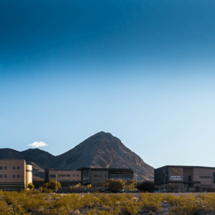 Photo of NSC Campus buildings with Mt. Scorpion in back