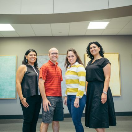 Group Picture of NSC Professors (Left to Right) Dr. Laura Naumann, Dr. Serge Baliff, Dr. Abby Peters, and Dr. Shantal Marshall