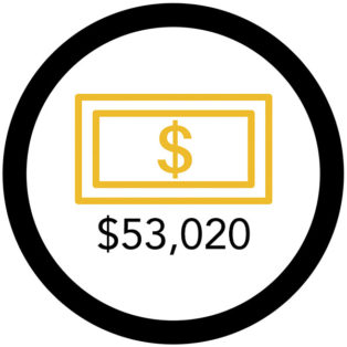 infographic of gold dollar sign with $53,020 below it