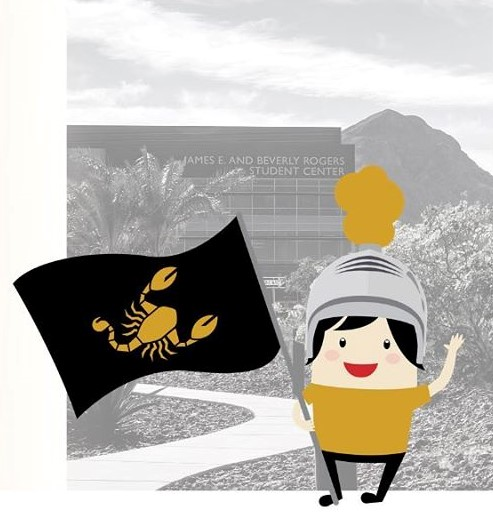 Flyer for Contest with NSC Building in the background and tiny character holding Scorpion flag