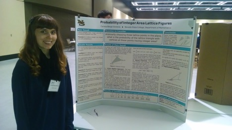 Picture of female student smiling at camera standing in front of large research poster presenting at undergraduate research conference