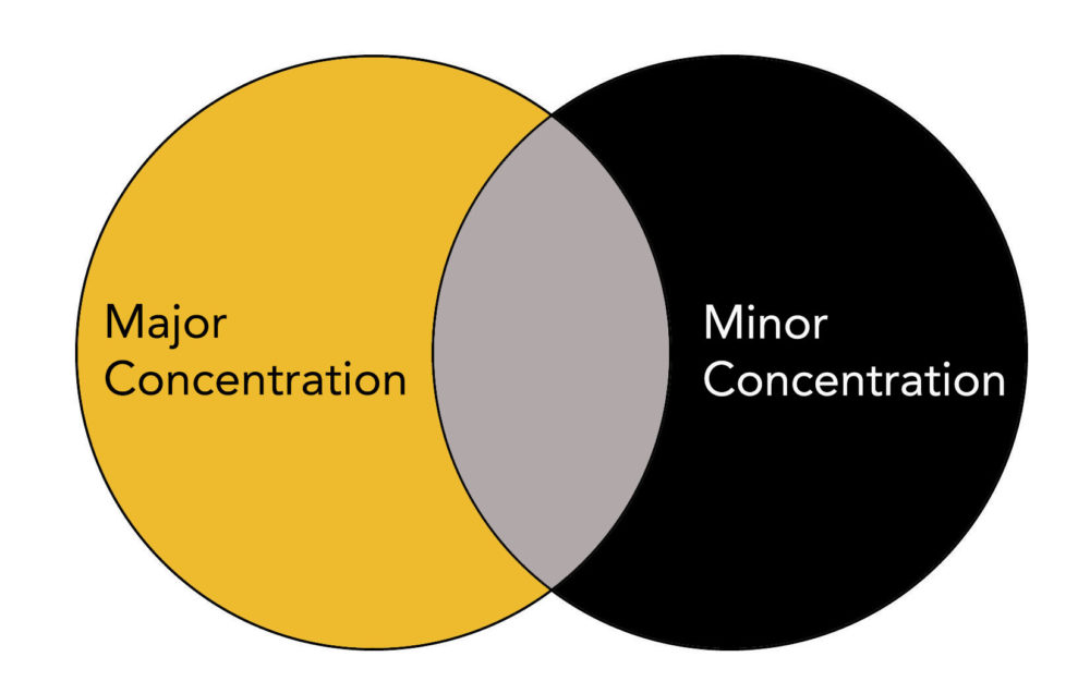 Venn Diagram with Major Concentration labeled on the left and Minor Concentration labeled on the right