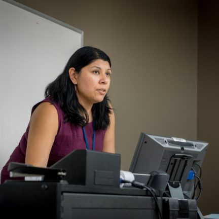 Psychology Professor, Laura Naumann at front of classroom